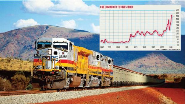 Steady journey ... iron ore, a strongly performing tangible asset, is making profits by the trainload.