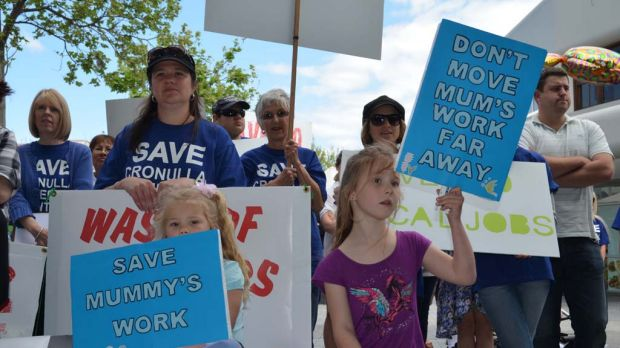 Workers at Cronulla Fisheries Research Centre and their families and supporters protest in the main shopping mall of ...