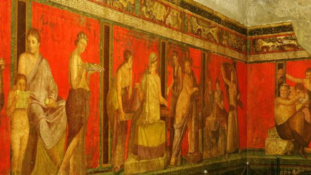 An ancient Roman fresco depicting the cult of Dionysus in the Villa of the Mysteries in Pompeii.
