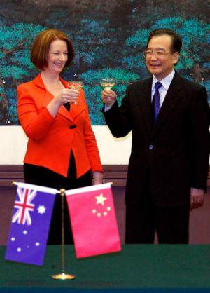 Prime Minister Julia Gillard hobnobs with Chinese Premier Wen Jiabao on a four-day visit to China in April.