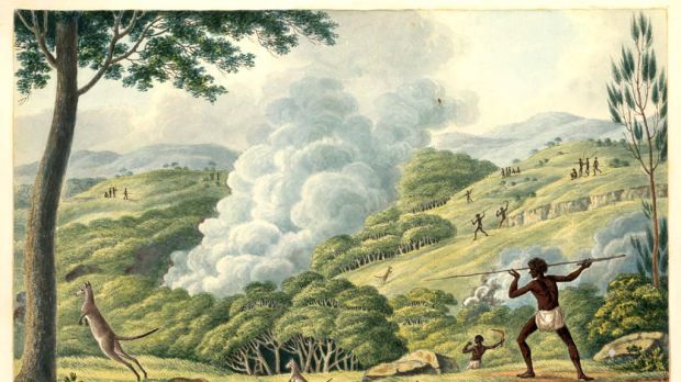 Working the land ... Joseph Lycett's c.1817 watercolour, Aborigines Using Fire to Hunt Kangaroos, depicts the innovative ...