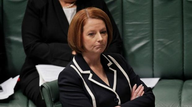 Prime Minister Julia Gillard hanging tough during question time at Parliament House.