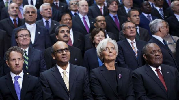 World finance ministers, including Australia's Wayne Swan (second row, second from right), at the IMF and World Bank ...