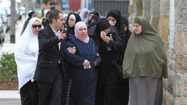 """""""Tragedy"""" ... mourners leave Lakemba mosque after the funeral of Rodney Elkass."""