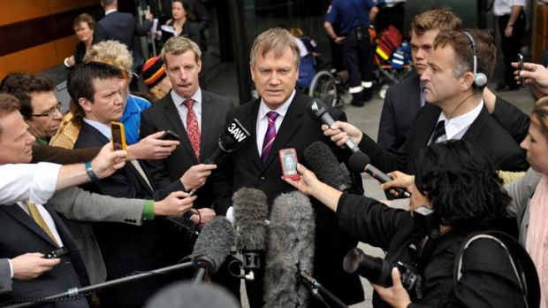 Andrew Bolt speaking to media after losing his court case.