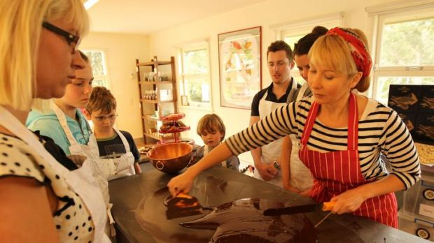 Sweet spread ... Rebecca Kerswell (right) teaches the art of chocolate making at her school.