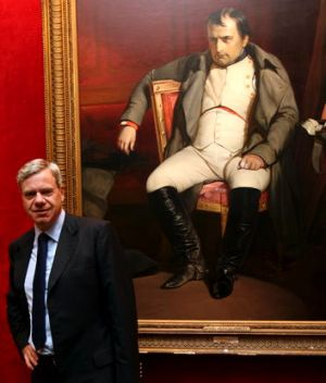 Michael Kroger before the auction in France with a portrait of a post-abdication Napoleon Bonaparte from the school of ...