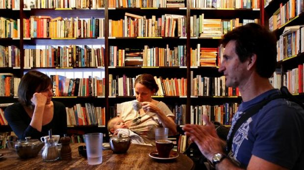 A few of the new options for booksellers on the table ... Leonie Robertson, left, Charmaine Keegan, baby Ernest, and ...