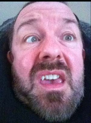 The 'mongification' of Ricky Gervais - one of his self-portraits.