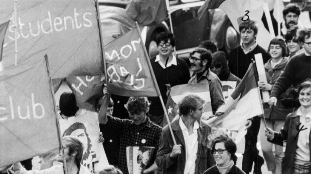 An ASIO surveillance photo - with persons of interest numbered - at  Monash University on May Day 1968.