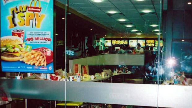 Rubbish dump ... The inside of the restaurant, pictured early this morning, resembles a tip.