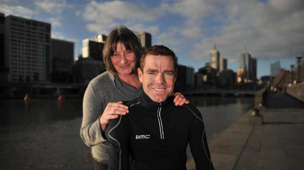 Helen Cocks and her son, Cadel Evans, in Melbourne earlier this year.