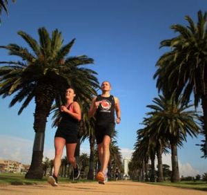 Feet first: Tristan Miller and Judy Graham get a look at the course for next month's City2Sea run in Melbourne.