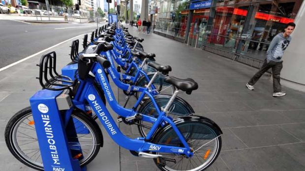 A Melbourne Bike Share station outside Southern Cross station.