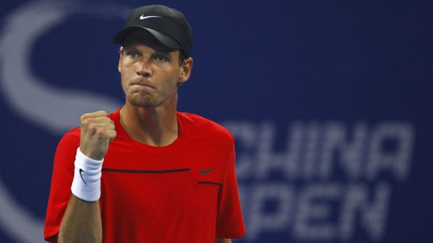 Tomas Berdych of the Czech Republic in action at the China Open.