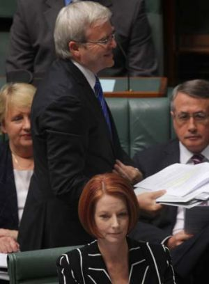 Back in business … Julia Gillard and Kevin Rudd at the dispatch box in Federal Parliament yesterday.
