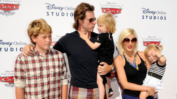 More on the way ... Tori Spelling and Dean McDermott with children, Jack, Liam and Stella.