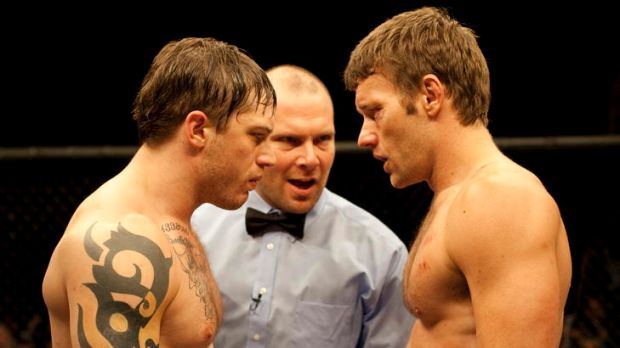 Tom Hardy and Joel Edgerton as brothers Tommy and Brendan face off in <i>Warrior</i>