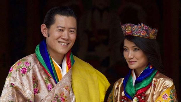 Colourful outfits ... the King and Queen.