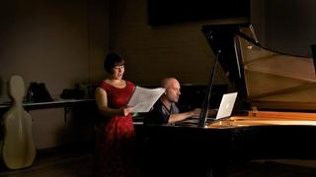 Soprano Jessica Aszodi and composer David Chisholm put the final touches to <i>Kursk: An Oratorio Requiem</i>.