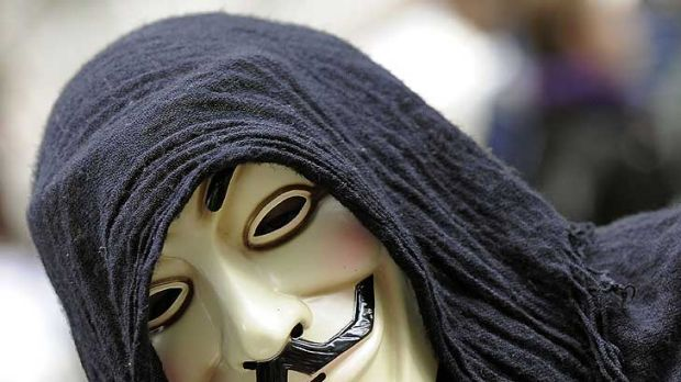 V mask ... One of the demonstrators with 'Occupy Wall Street' protest at Zuccotti Park in New York yesterday, wearing ...