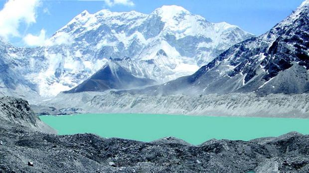 On the brink … Imja lake, 5km above sea level, is one of the fastest growing in the Himalayas.