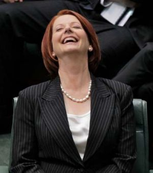 From triumph to despair ... Julia Gillard during the final votes on the carbon tax bills on Wednesday.