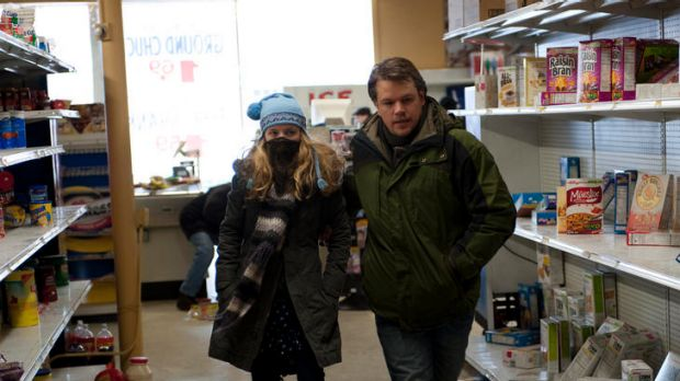 Fully sick, dad ... Mitch (Matt Damon) takes his daughter (Anna Jacoby-Heron) on an emergency supermarket sweep.