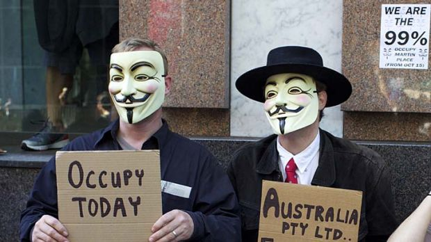 Several hundred protesters assemble in Martin Place for the Occupy Sydney demonstration.