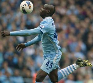 Pleaser … City's Mario Balotelli scored the opening goal.