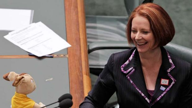 Moving up in the ratings ... Prime Minister Julia Gillard with Wally the Australian Rugby Union Wallabies mascot during ...