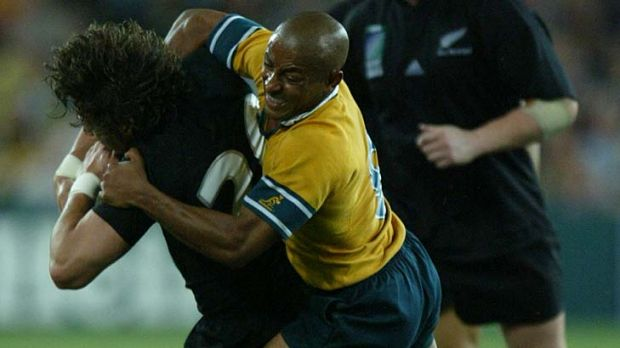 Famous sledge ... George Gregan, right, gets to grips with Byron Kelleher during the World Cup semi-final in 2003.