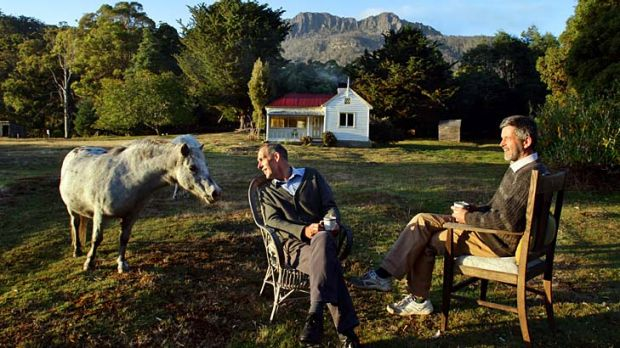Home on the range ... Bob Brown and Paul Thomas at their cottage in Liffey, south of Launceston, in March this year.