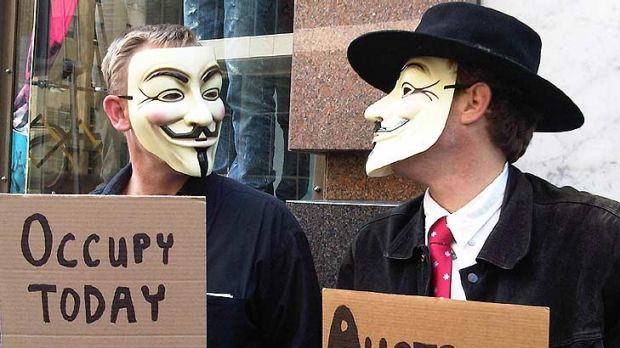V also stands for very uncomfortable ... the Sydney protesters are making the best of it in Martin Place.
