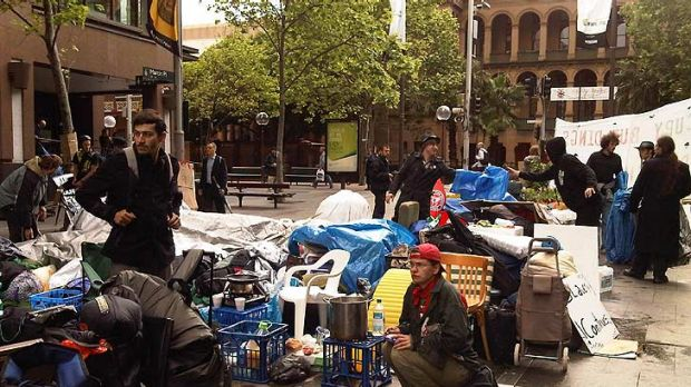 Home from home ... but not as comfortable. The occupation in Martin Place today.