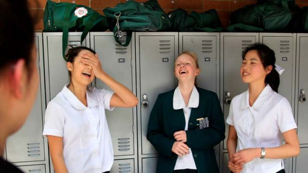 Pretty easy ... Jordana Zonaras, Jessie Tugwell and Simone Chin were not put off by the specific focus of the first HSC ...