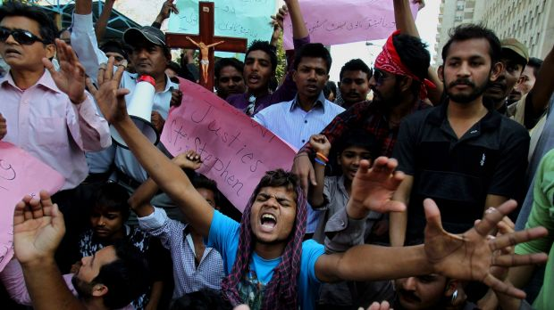Pakistani Christians in Karachi chant slogans during a demonstration to condemn the suicide bombing attack on two ...