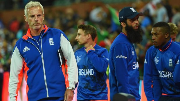 Reality bites:  England coach Peter Moores at the end of the match between England and Bangladesh.