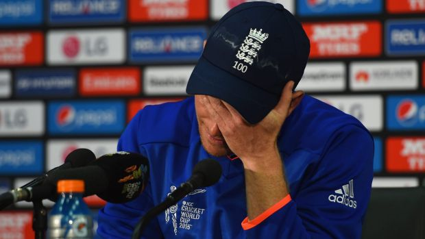 Captain calamity: England skipper Eoin Morgan looks dejected after his team was knocked out by Bangladesh.