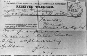 A telegram sent by Olof on receiving a letter from Lasseter - probably in reply to a letter Olof had sent stating that ...
