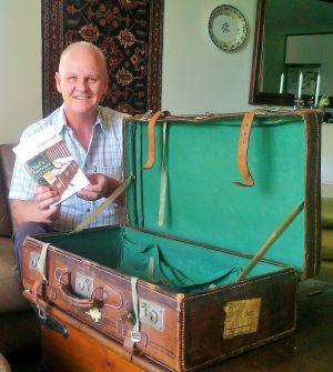 Chris Clarke with the suitcase of his Swedish grandfather Olof Johanson.