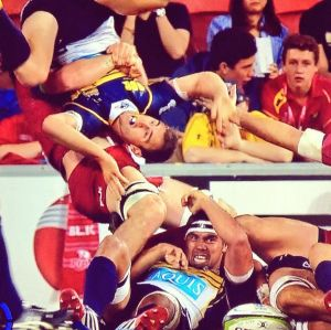 Queensland Reds flanker Liam Gill only got two weeks for this tackle on Brumbies halfback Nic White.
