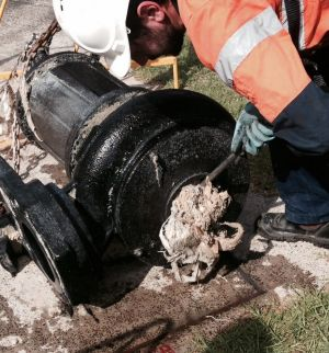 A sewer pump blocked by wet wipes in Australia.