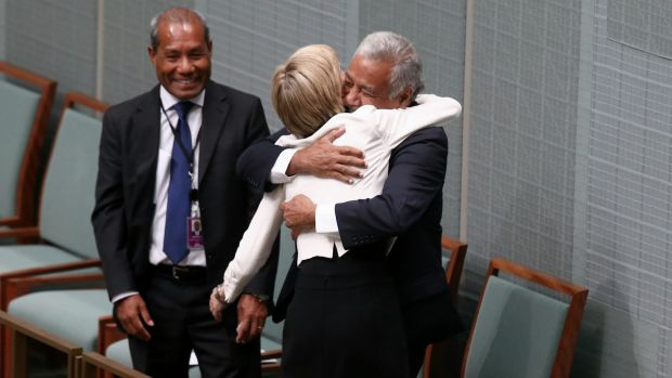 Foreign Affairs Minister Julie Bishop embraces Xanana Gusmao, the former prime minister of East Timor, in Parliament ...