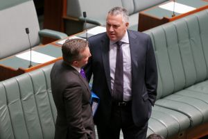 Shadow Treasurer Chris Bowen and Treasurer Joe Hockey ahead of Question Time at Parliament House in Canberra on Monday ...