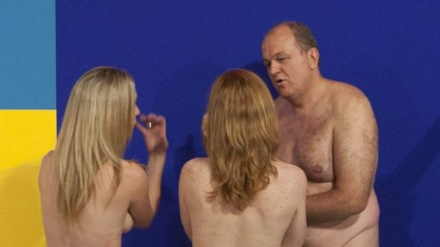 Artist Stuart Ringholt leads a naked tour through the Museum of Contemporary Art in Sydney.