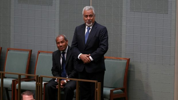 Former East Timor prime minister Xanana Gusmao at Parliament House in Canberra on Monday.