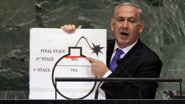 Israeli Prime Minister Benjamin Netanyahu raises his concerns about Iran's nuclear ambitions during an address to the ...