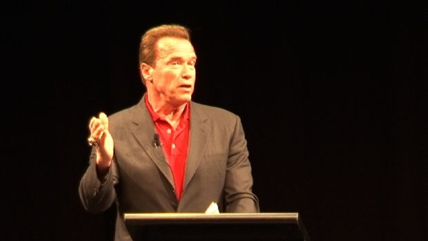 Arnold Schwarzenegger spoke to hundreds at a real estate convention at the RNA Convention Centre on Tuesday.