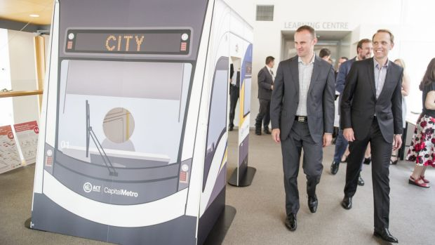 Chief Minister Andrew Barr and Capital Metro Minister Simon Corbell said the extension of the tram to Russell will be ...